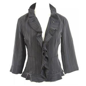 Yansi Fugel Jackets & Blazers - Yansi Fugel Black Raw Edge Pin Stripe Jacket