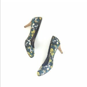 Nine West blue and yellow floral cork heel pumps
