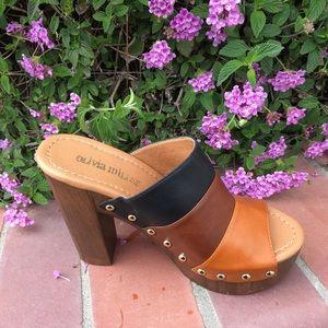 SHOEROOM21 boutique Shoes - Ladies wood heels peep toe backless sandals. BROWN