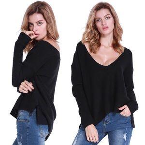 fairlygirly Tops - Loose Slouchy High Low Black Sweater Medium Large