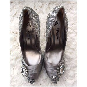 J. Renee Shoes - New J Renee Silver Sequin Rhinestone Heels Sz 7