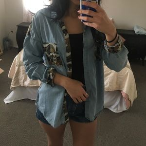 Forever 21 camo jean button up