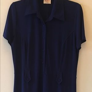 Leona Edminston Dresses & Skirts - Leona Edminston Navy Blue Shirt Waist Dress