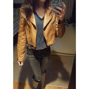 Love Culture Jackets & Blazers - Tan Leather (faux leather) Jacket  w/ Inside Print