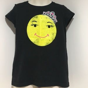 Hanes Other - Girls XS Princess Happy Face Black SS Tee