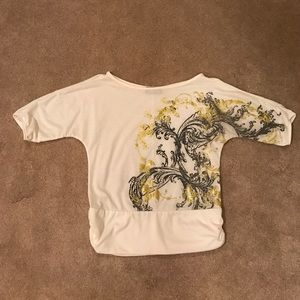 Double take graphic blouse S white gray and gold