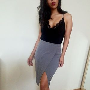 Dresses & Skirts - GRAY FAUX WRAP PENCIL SKIRT