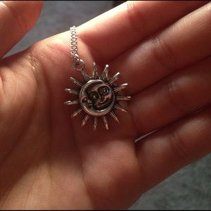 Sun and moon pendant necklace