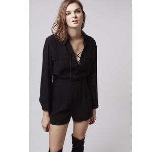 Topshop Pants - Topshop Lace-up Romper in Black