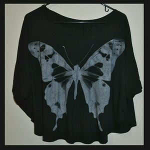 Tops - Black Grey Butterfly Bat Wing Poncho Top