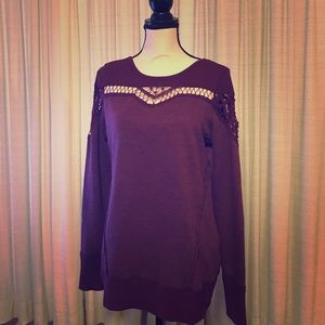 Maurices Sweaters - NWT MAURICES OPEN CHEST DETAIL PLUM SIZE MEDIUM