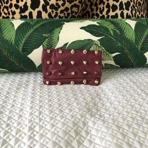 Deux Lux Handbags - Deux Lux burgundy spike stud clutch