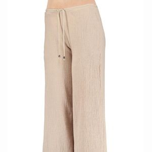 Curvy Couture Pants - Draw String Crinkle Linen Pants Tan NWT