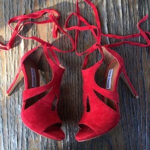 Steve Madden Shoes - Steve Madden Sashy Red suede strappy lace up heels