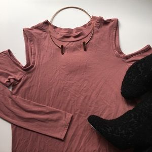 Topshop Rose Cold Shoulder Tee