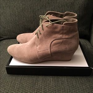 Nine West Shoes - Nice West Beige Suede Wedge Ankle Boots