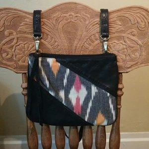 Bryna Nicole Handbags - Black leather crossbody bag with ikat panels