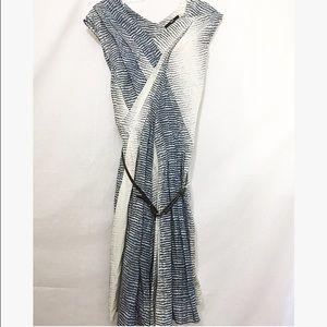 Hugo Boss Dresses & Skirts - Hugo Boss spring navy striped dress w/ brown belt