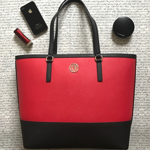 83% off DKNY Handbags - New DKNY Red and Black Leather Tote Purse ...