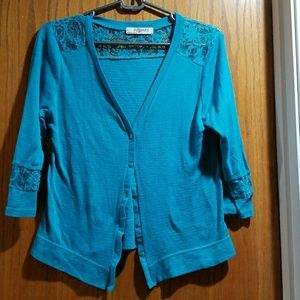 Romy Sweaters - Turquoise Lace Cardigan
