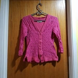 Romy Sweaters - Pink Lace Cardigan
