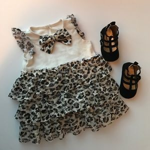 Baby Starters Other - Black and gold cheetah print dress