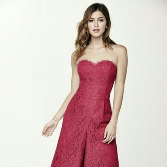 757078dad7b Adelyn Rae Strapless Lace Culotte Jumpsuit