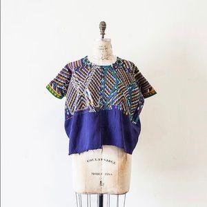 Vintage embroidered crochet knit huipil top blouse