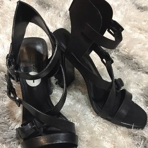 Rebecca Minkoff Black Leather Sandal
