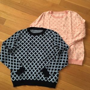 Joe fresh set f sweaters. Blue and pink. Size M.