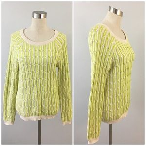 Willow & Clay Neon Cream Knit Long Sleeve Sweater