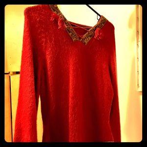 Sweaters - Beautiful handmade knit red sweater