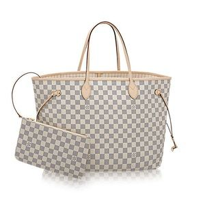 EUC Authentic LV Neverfull GM Damier Azur NO Pouch