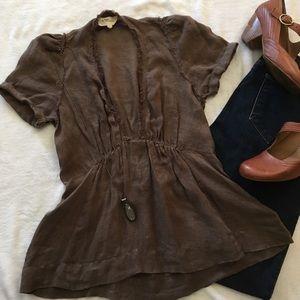 Isabel Marant Tops - Raw edged hem tie back empire waist linen top