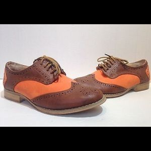 Wanted Shoes - wanted mallory orange brown oxfords size 6.5
