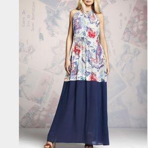RARE New PETER SOM XL Halter Blue Cream Maxi Dress