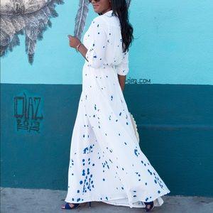 Dresses & Skirts - Splash Art Print White Maxi Drees