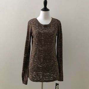 Planet Gold Tops - Sheer brown long sleeve tee