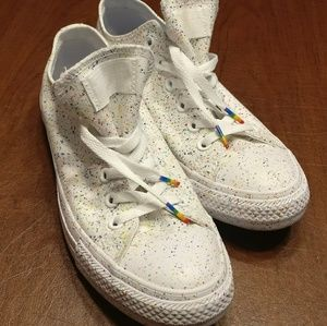 74ff7218381081 Converse Shoes - White Low Top Converse Rainbow Splatter Pride