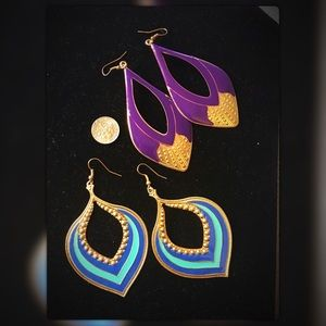 Fashion earrings purple/ turquoise colored