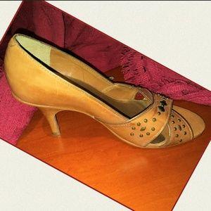 White House Black Market Shoes - White House Black Market Studded Leather Peep Toe