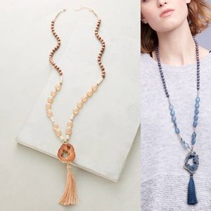 Anthropologie Jewelry - Anthropologie Tassel Agate Necklace