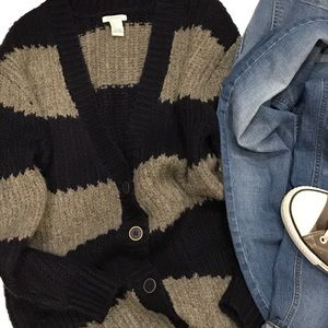 Forever 21 striped boyfriend cardigan