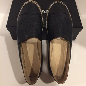 Authentic Chanel Espadrilles in Black