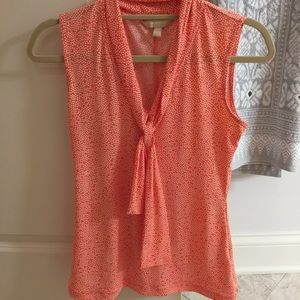 Banana Republic Tops - BR Orange and white polka dot necktie blouse. XSP