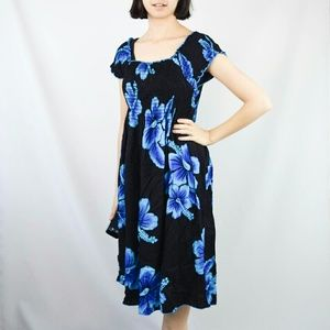 Favant Dresses & Skirts - Black & Blue Floral Hawaiian Mumu Midi Dress