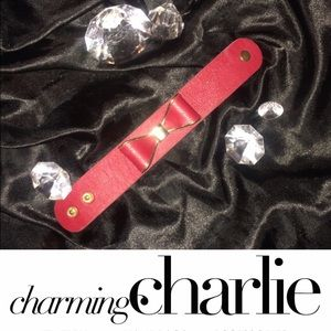 Charming Charlie Jewelry - 🆕 Red Bow Wristband Bracelet NWOT