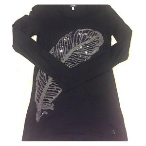 Armani Jeans Tops - Sz M Armani Jeans Sequin Feather Tee