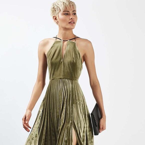 185307961145 Topshop PETITE Dresses | Topshop Velvet Pleated Midi Dress Size 6 N ...