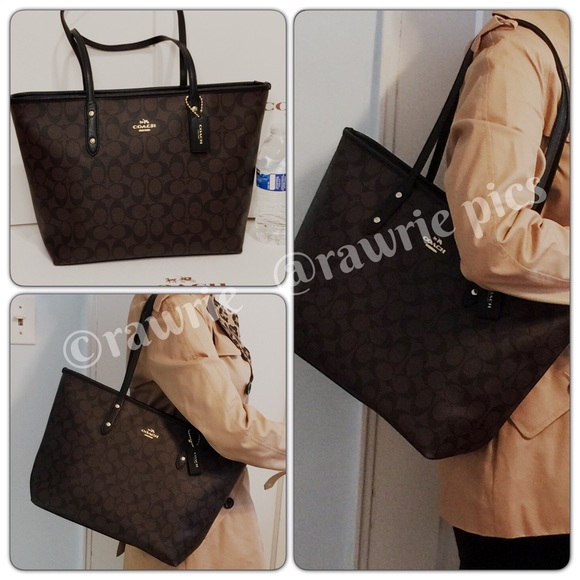 65fb9a55596a New Coach Signature city zip top tote